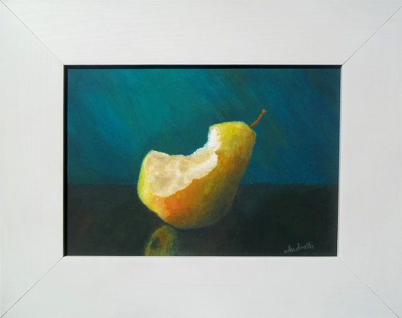 Delicious fruit . Pear still life by Andrelli on Etsy #Andrelli #pear #still-life #green #blue #fruit #bitten #bites #painting #oil #canvas #frame