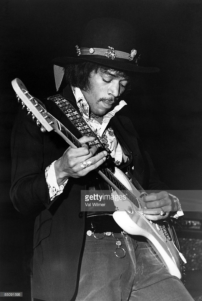Jimi Hendrix Playing Guitar Black And White
