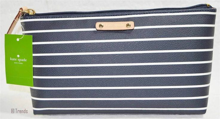 Kate Spade Pouch City Stripe Shiloh Navy Cream Bag $70 Nwt Authentic New Gold Visit us @  http://stores.ebay.com/Trends-In-Bags