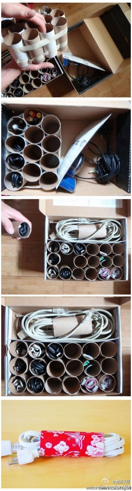 """love it – shows you dont need expensive """"organising things"""" to get in order. Use toilet paper rolls to organise  power cords, cables,etc."""