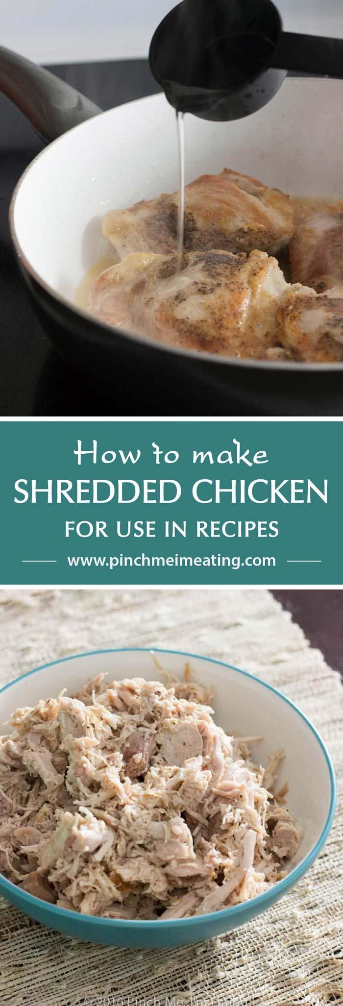 How to make shredded chicken for recipes in under 30 minutes! Flavorful, juicy…