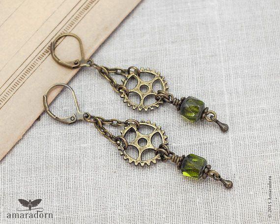 Grungy Gears Earrings, Olive Green Steampunk Earrings, Industrial Bronze Cog Ear Rings, Steam Punk Jewellery, Handmade UK