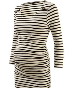 Long Sleeves Round Neck Stripe Pattern Full Length Maternity Tee