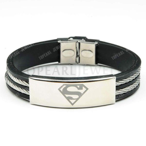 Topearl ювелирные изделия 3 шт. супермен человек из стали супергерой черный резиновый кабель провод браслет MEB223