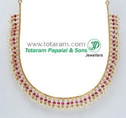 22 K Gold Necklace with ruby beads & Pearls - GN217 - Indian Jewelry from Totaram Jewelers