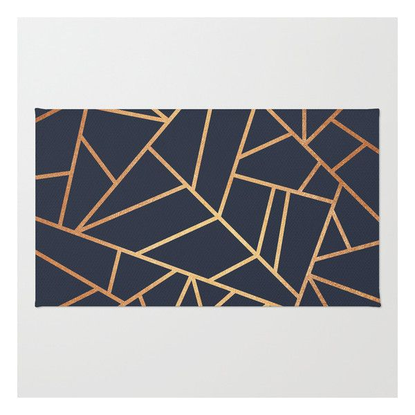 Copper And Midnight Navy Rug ($28) ❤ liked on Polyvore featuring home, rugs, navy blue area rug, dark blue rug, abstract rug, patterned rugs and chevron pattern rug