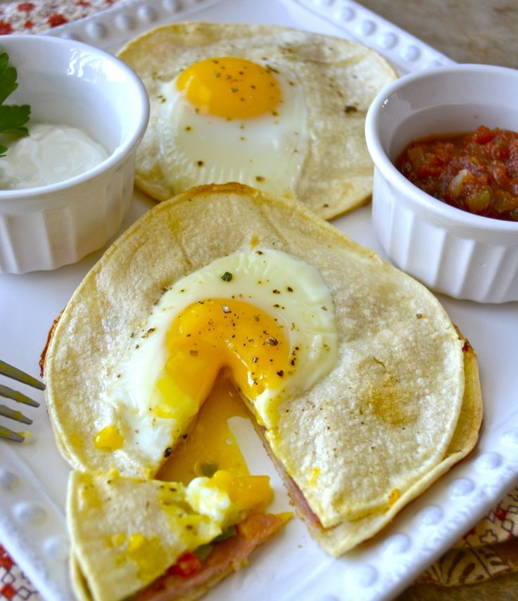 Baked Ham, Cheese and Red Pepper Corn Tortilla  Stacks with Egg #Recipe on #TheEggAward2014 Pinterest