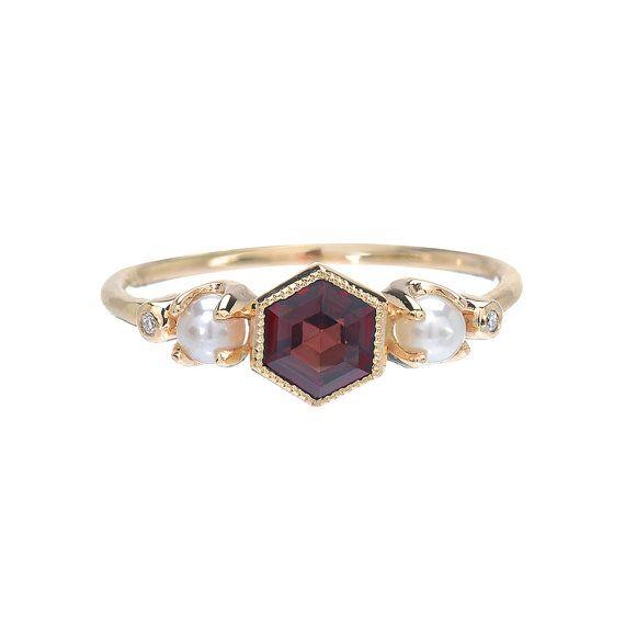 Garnet Ring Gold Garnet Diamond Pearl Ring Engagement Ring
