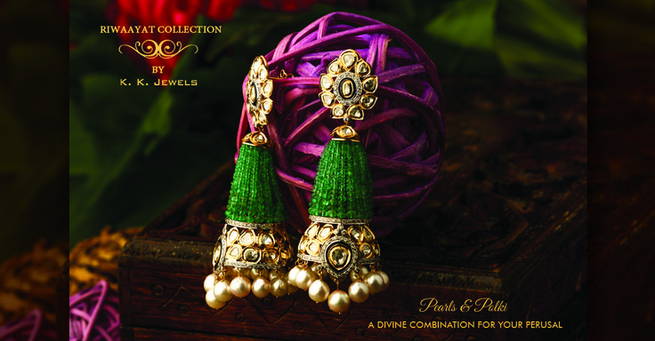 Fall in love with this brilliant concoction of pearls and polki. K.K. Jewels brings before you a pair of earrings so divine that you won't be able to resist the temptation to wear it and strut around town. These earrings will definitely bring out your inner diva and showcase it beautifully to the world. You can comment below or inbox us to inquire about the price and other details. #KKJewels #Jewellery #Ahmedabad #heritagejewellery