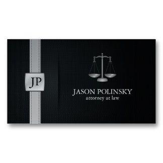 Abogado en la ley negro y de plata elegante tarjetas personales