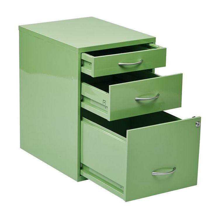 3 Drawer Metal File Cabinet in Green