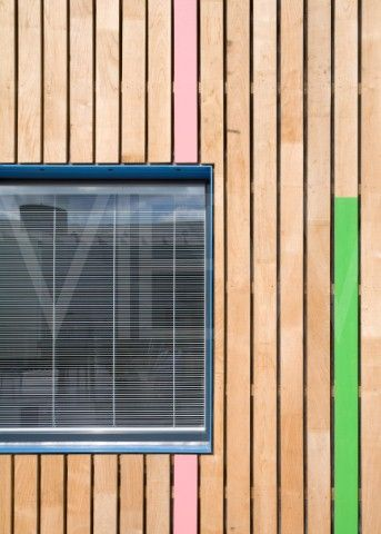 Tuke School Haverstock Associates London 2010 Detail of window reveal and colourful exterior timber