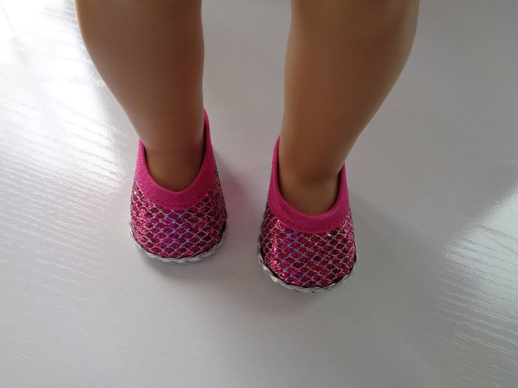 """Pink and Silver- Princess Sparkle- Glitter- 18"""" Doll Shoes-Shown on my american girl doll by lillysdollclothes on Etsy"""