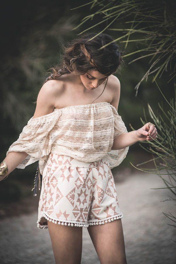 """Helen of Troy "" top with ""Memphis "" shorts by nidodileda #nidodileda #bohemian #beauty"