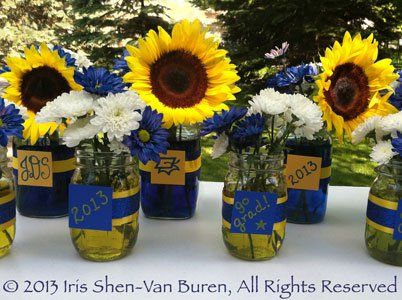 centerpiece ideas using mason jars personalized mason jar floral centerpieces - Graduation Party Decoration Ideas