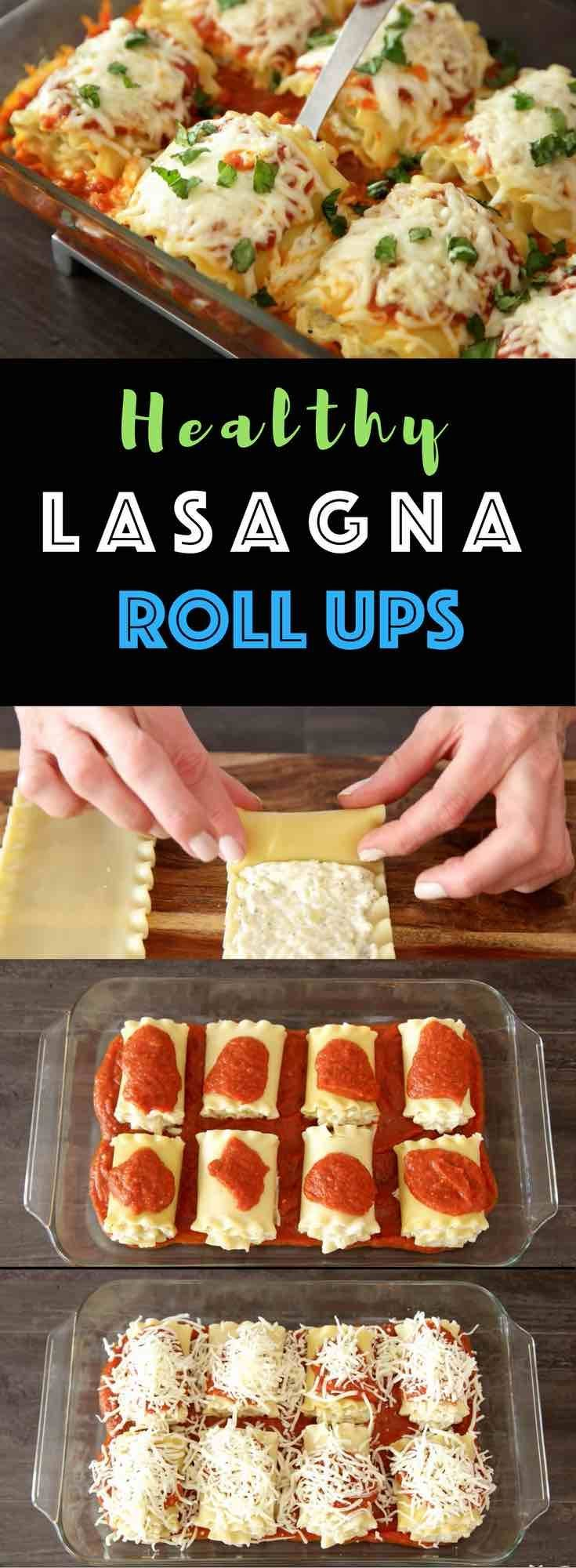"""Easy, cheesy and healthy lasagna Rolls – Really easy to make and are a """"no-guilt"""" way to enjoy the pleasure of lasagna. All you need is a few simple ingredients: lasagna noodles, zucchini, ricotta cheese, parmesan cheese, mozzarella, oil, garlic, egg, marinara and fresh basil for garnish. A perfect healthy dinner for the whole family! Quick and easy dinner recipe, vegetarian, healthy recipe. 
