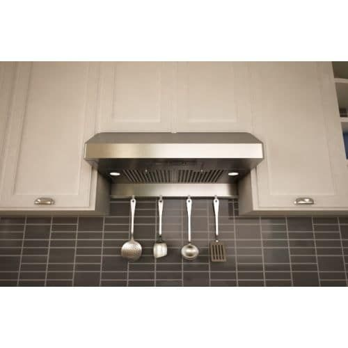 Zephyr AK7136AS-BF 400 CFM 36 Inch Wide Under Cabinet Range Hood with Halogen Lighting and Baffle Filters from the Essentials, Silver stainless steel