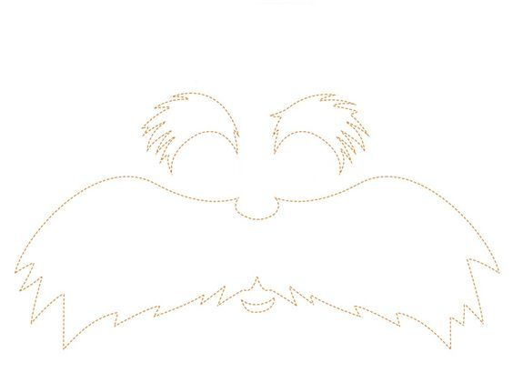 This is an image of Soft Printable Lorax Mustache and Eyebrows