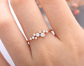 Rose Gold Engagement Ring Diamond Cluster ring Flower Wedding band Women Delicate Bridal Jewelry Unique Promise Stacking Anniversary Gift