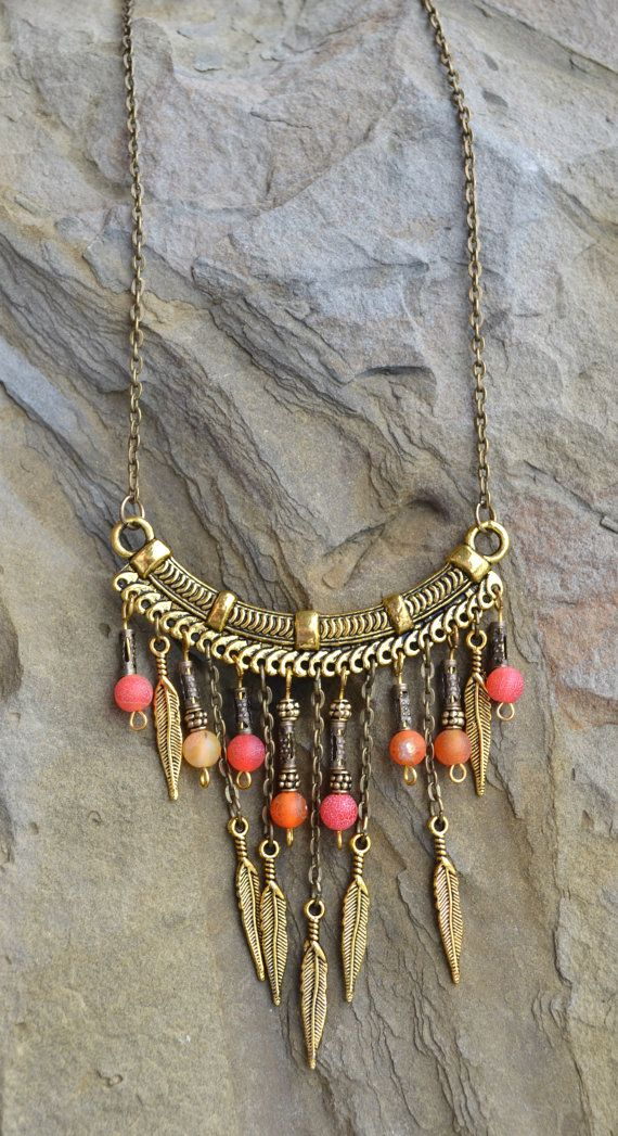 Tribal Necklace, Fire Agate, Orange and yellow gemstone, Handmade necklace…