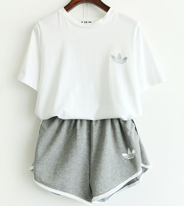 Adidas Women Casual Short Sleeve Top Sport Gym Sweatpants Set Two-Piece Sportswear