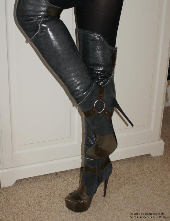 grey thigh high high heel boots w zipper boots