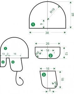 Шапку - ушанку ' Серая шейка' делала по этим шаблонам ( усадка 30%), получается 56р-р. Деталь 1 - шаблон тульи ( первый слой шелковые волокна и 5 очень тонких слоев БФЛ- примерно 40-45г), деталь 2 - 'козырек' , деталь 3 'ушки'- 2шт. ( 3 лоя БФЛ , сверху флис БФЛ- примерно 20-25г). Пожужали, укатали, собрали детали и все вместе уваляли, хвостики в ушки вставила , когда их выкладывала.