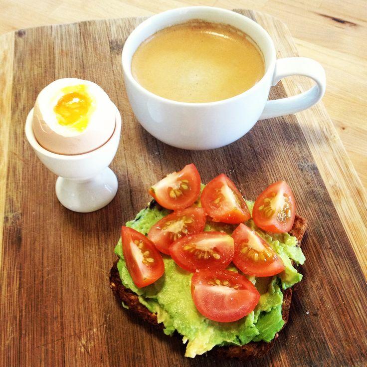 Mmmmmm amazing breakfast! Tomatoes & avocado on toast plus a boiled egg - perfect!