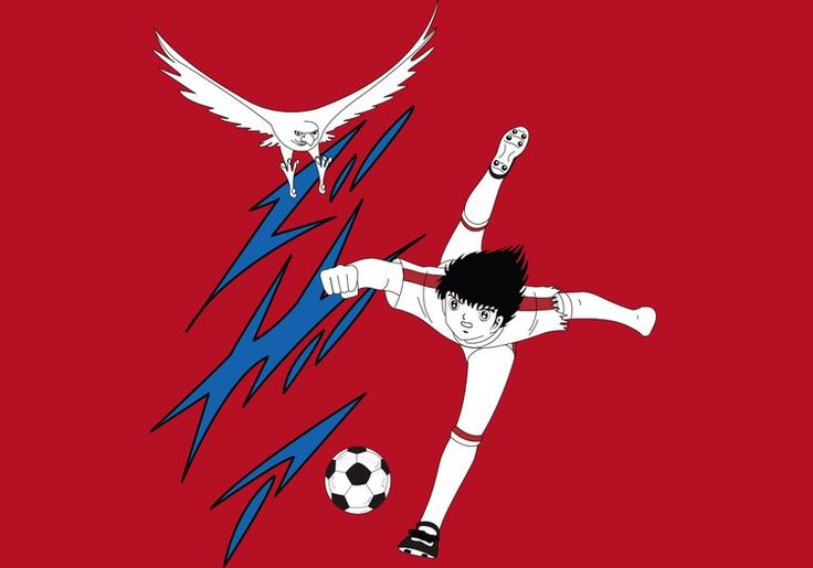 Tiro del águila de Oliver Atom de Oliver y Benji. Camiseta de la colección 80s kids de la marca cosplay original