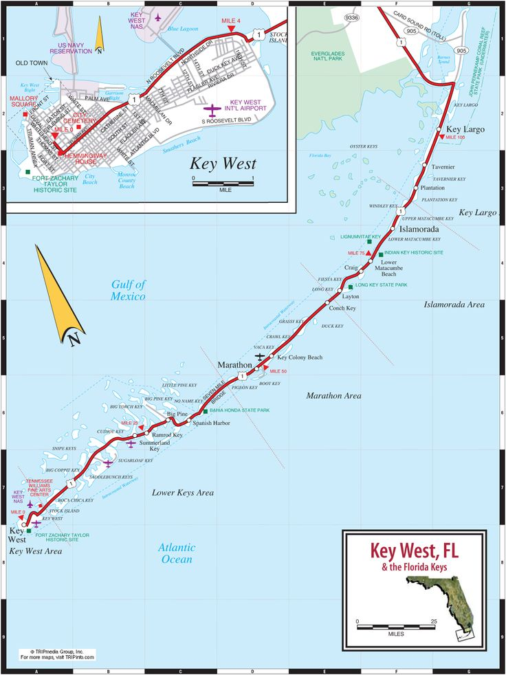 Key West & Florida Keys Road Map - 100 miles long and a smile wide!!!