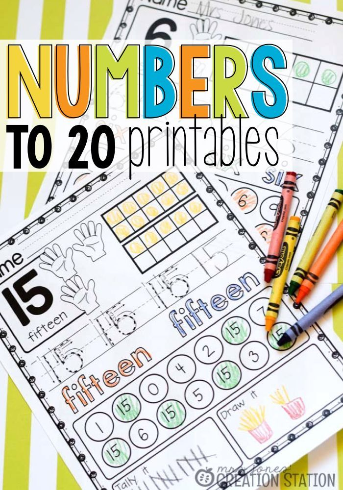 Mrs.Jones' Creation Station - Numbers to 20 Printables - lot of information for each number.  The numeral, number word and counting hands allow learners to identify how they may often see the number represented.  Then, learners are about to use bingo daubers or color in circles on the ten-frame to represent the number on their own.