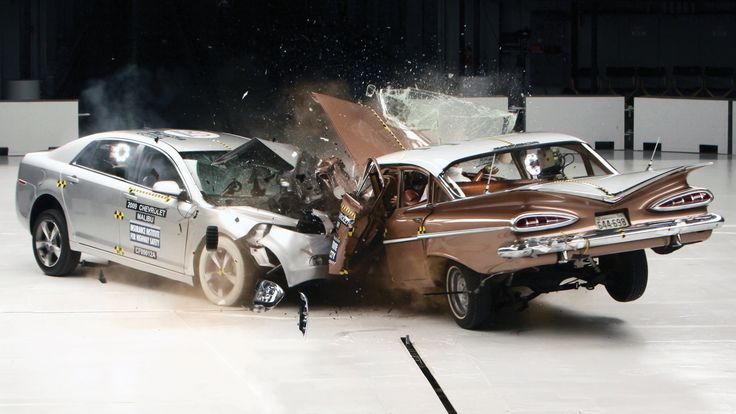 #OBC A Hulking 1959 Chevy Bel Air Gets Obliterated by a Mid-Size 2009 Chevy Malibu in a Crash Test toodles
