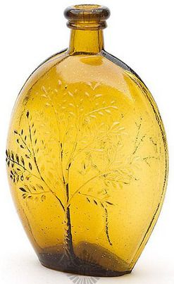 Summer Tree/Winter Tree yellow amber flask Baltimore Glass Works 1840 to 1860.