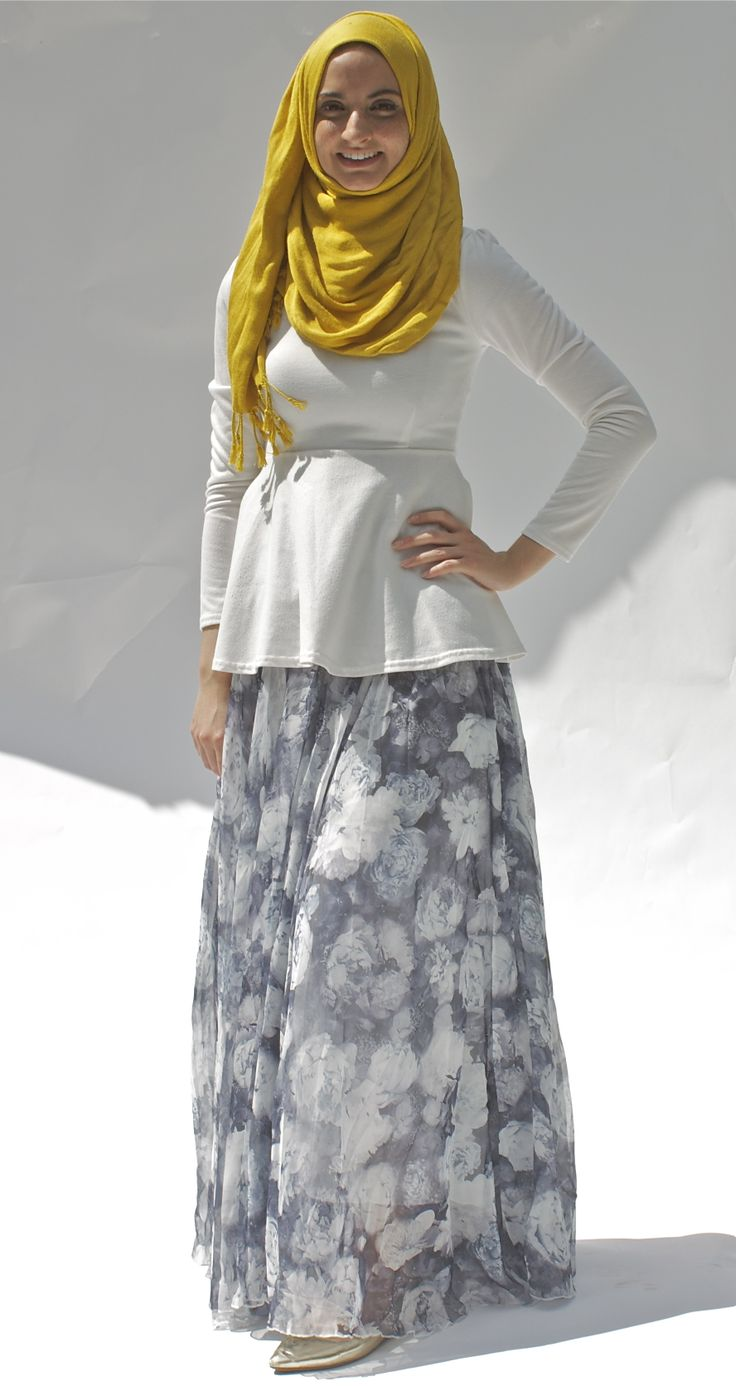 Printed A-line maxi skirt #hijabfashion #modeststyle