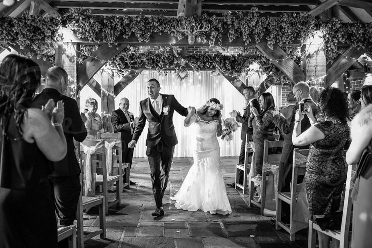 Happy couple just married! Great shot as they walk back down the aisle  Kent wedding venue - www.theferryhouseinn.co.uk
