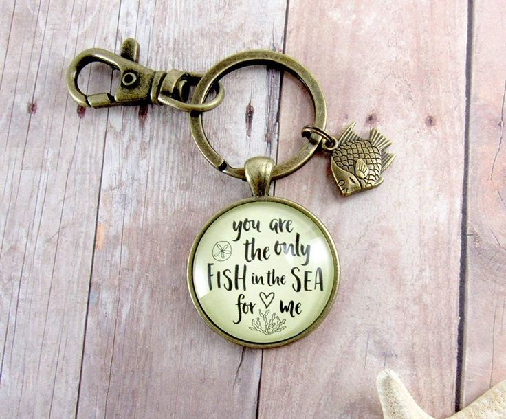 Fishing Couples Keychain For Men You Are The Only Fish in the Sea Novelty Love Quote Ocean Inspired Key Ring Gift