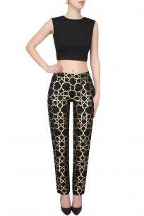 Black And Gold Geometric Brocade Pants