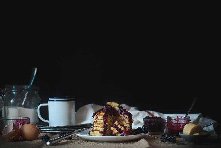 cornmeal pancakes with blackberry-goat cheese syrup | http ...