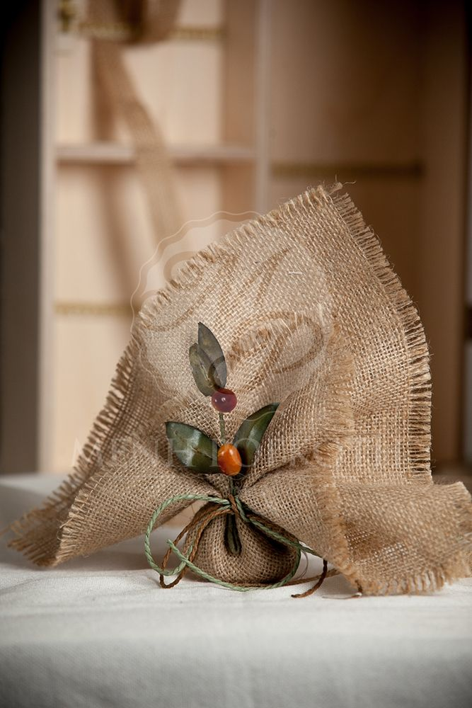 Natural burlap wedding favor - bombeniere with olive branch