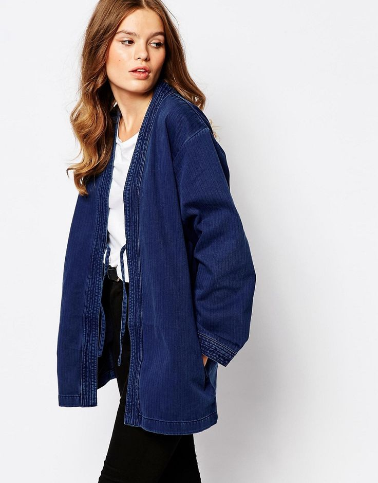 De fedeste Waven Imma Clean Denim Kimono Jacket Waven Denim Jakker til Damer til enhver anledning