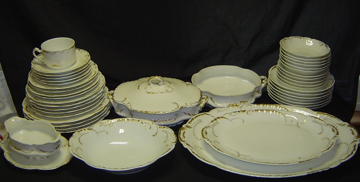 44 Haviland Limoges Marseille White Gold China Set Lot Plate Bowl Serving 422 | eBay