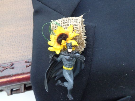 Batman boutonniere by AlwaysElegantBridal on Etsy