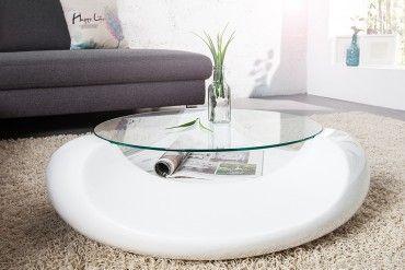 Extravaganter Couchtisch CLUBBING weiss Hochglanz aus hochwertigem Fieberglas Leichtbau Glastisch