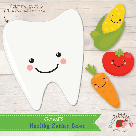 Healthy Eating Game - Match the good foods to the happy tooth by Busy Little Bugs