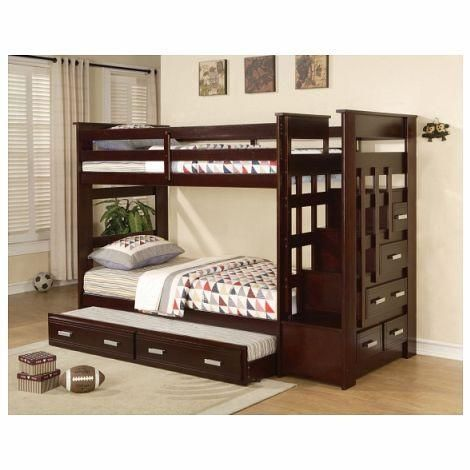 """The Ridley Bunk Bed is stylish and functional. Not only does the staircase provide easy access to the top bunk, it also features storage drawers for convenience. The silver hardware looks great against the dark espresso finish. Trundle is also included. Twin over twin bunk bed. Dimensions: 98"""" x 43"""" 68""""H"""