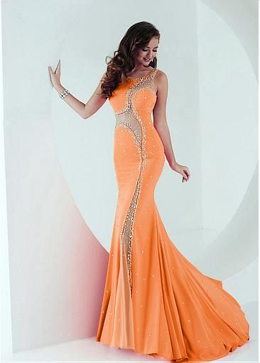 Eye-catching Tulle & Chiffon Scoop Neckline Mermaid Prom Dresses With Rhinestones