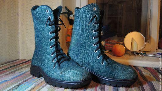 Обувь ручной работы. Ярмарка Мастеров - ручная работа. Купить Мужские ботинки Кипятки. Handmade. Морская волна, шерсть
