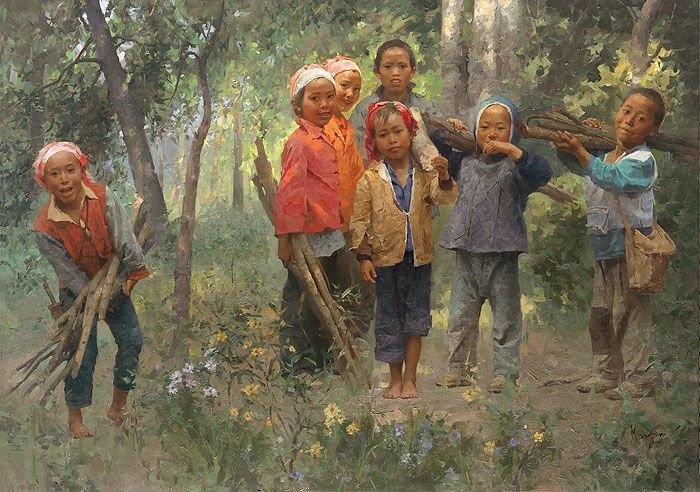Mian Situ (Chinese American, born 1953) -  His deep-toned impressionistic paintings of the backcountry often focus on people going about their daily lives in their small villages and farming communities.  'Firewood Gang'