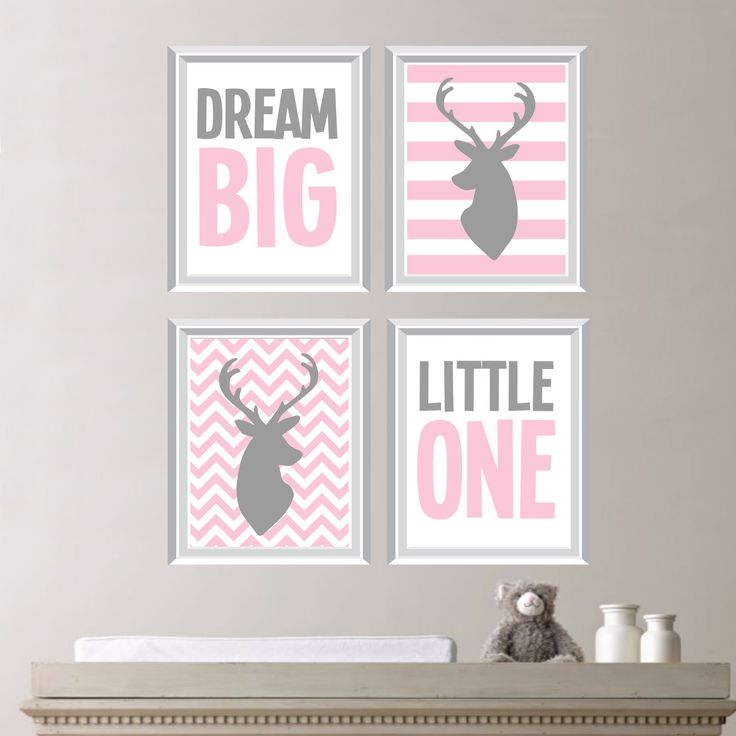 Dream Big Little One Deer Quad - Baby. Decor. Nursery. Girl. - Shown in Light Pink, Gray - You Pick the Size (NS-162) by RhondavousDesigns2 on Etsy