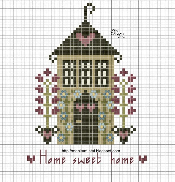 free cross stitch house freebie Home Sweet Home